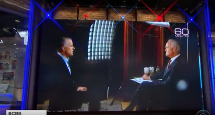 """Andrew McCabe, left, during """"60 Minutes"""" interview."""