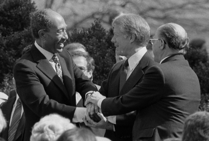 Sadat, Carter and Israel's Menachem Begin at the White House in 1979 after signing Egyptian–Israeli Peace Treaty. (Wikimedia)