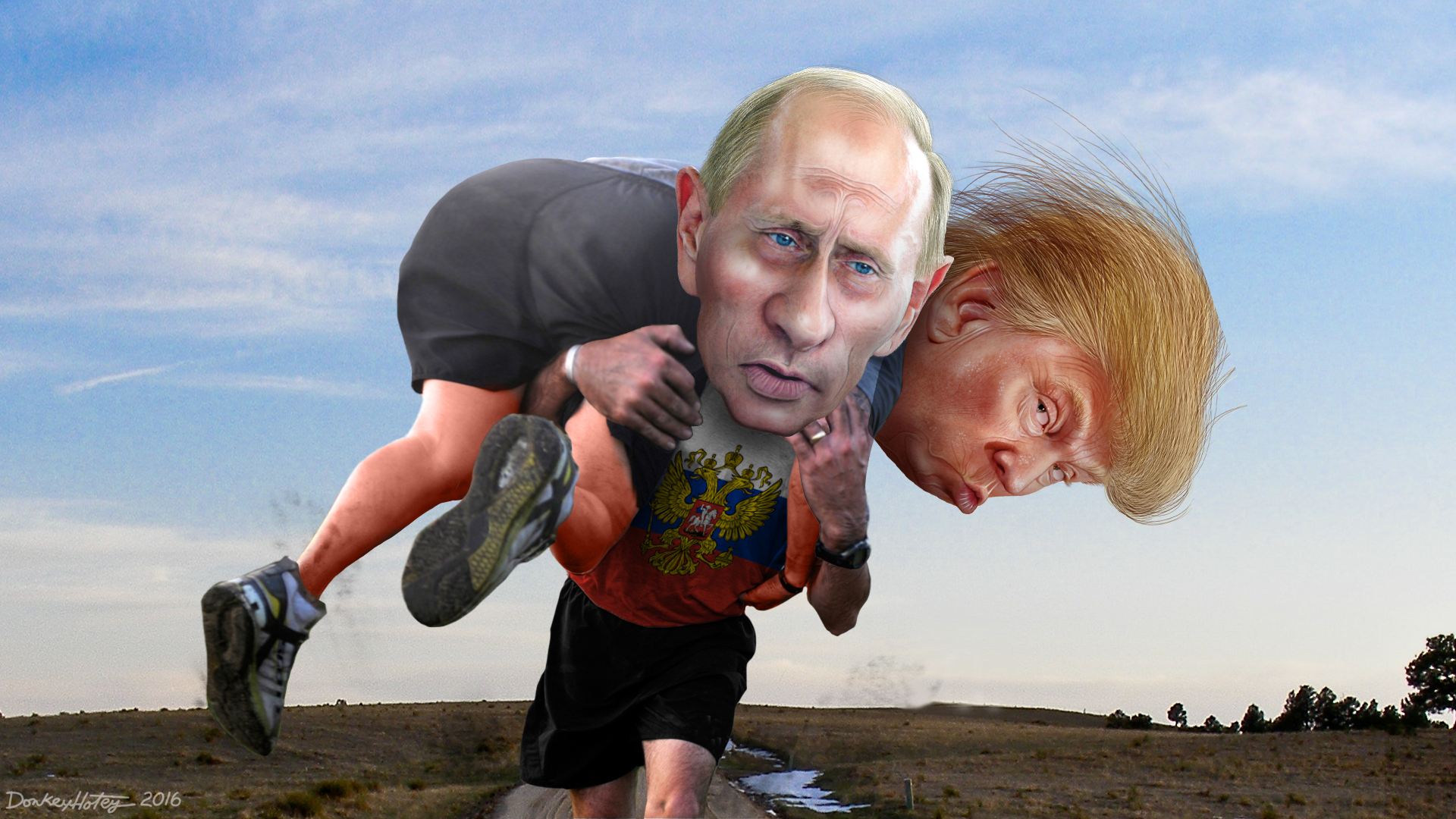 Putin helping Trump win the race for president. (DonkeyHotey via Flickr)