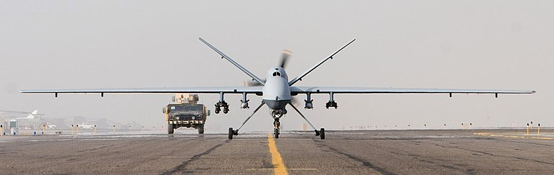 An MQ-9 Reaper taxis after a mission in Afghanistan, Oct. 1, 2007. (Wikimedia)