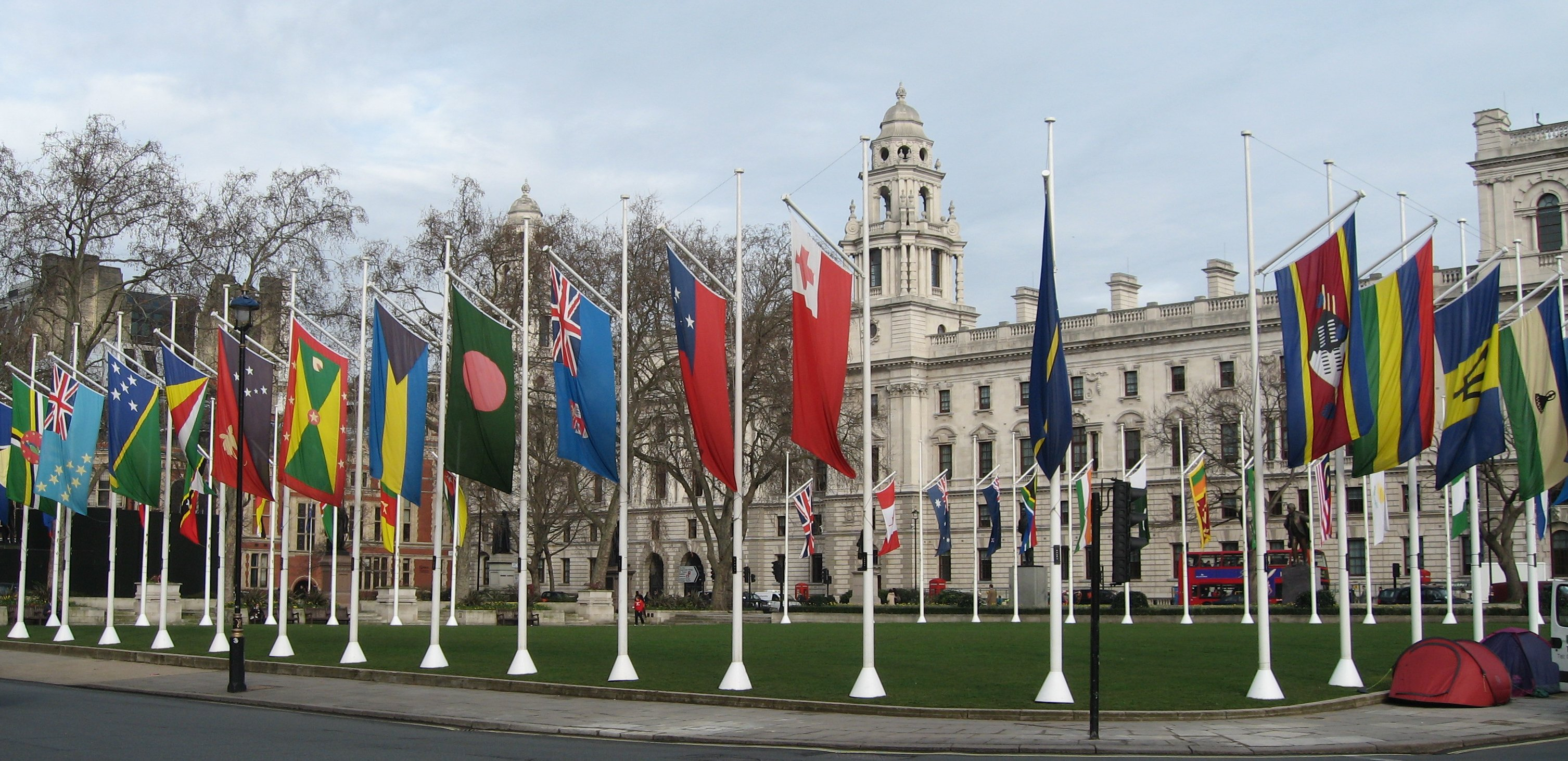 Flags of the Commonwealth in Parliament Square, London (Wikimedia)