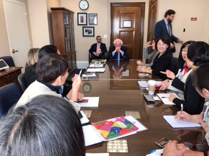 Meeting with Vermont's U.S. Senator Bernie Sanders. (Women Cross DMZ)